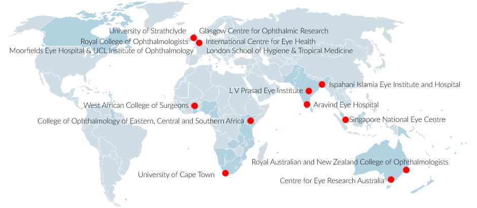 Map of Commonwealth Eye Health Consortium members